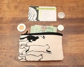 Cat Stampede Screen Printed Zipper Coin Pouch Mini Wallet