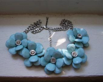Silver Blue Flower Statement Necklace
