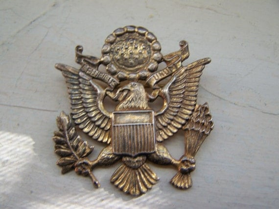 Gold Brass Military American Eagle Pin Brooch