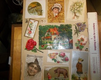Victorian scrap book pages, Victoriab ads, die cut paper ads, calling cards
