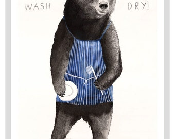 I Wash Bear A4 Print