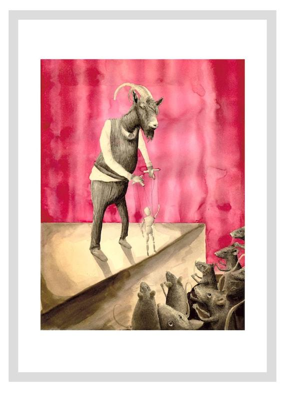 Goat Puppet print - A4 print