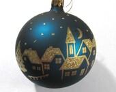 Christmas Ornament Cobalt Blue VINTAGE Christmas Ornament Cobalt Blue Gold Town Scene Christmas Tree Topper Christmas Ornament (T118)