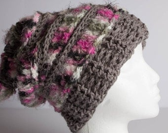 Crochet Beanie, Crochet Hat, Beanie, Slouchy Beanie,  Crochet Shaggy Beanie, Shaggy Hat, Adult Textured Ribbed Rasta, Beret