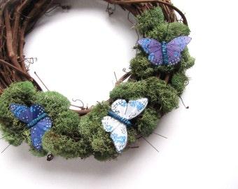 Butterfly and Moss Wreath, Woodland Blue Butterflies 10 inch