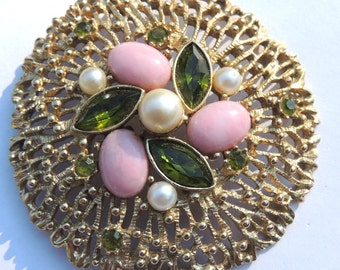 Sarah Coventry Brooch Pin Fashion Splendor Pink & Green Vintage Jewelry