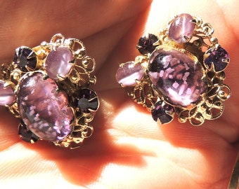 Designer Kafin Earrings Purple Clip On Vintage Earrings Rhinestone Art Glass Jewelry