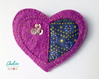 Felt heart brooch - Lilac felt heart brooch - Felt and African fabric brooch