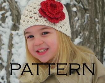 Girls Shell Beanie Crochet Pattern - PDF