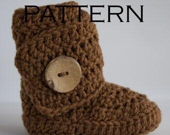 Side Wrap Baby Boot Crochet Pattern - PDF