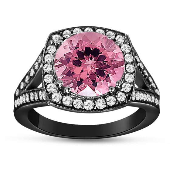 Pink Tourmaline And Diamonds Engagement Ring 14K Black Gold
