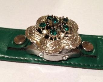 Vintage Emerald Green Cuff Bracelet with Vintage Emerald Crystal Brooch