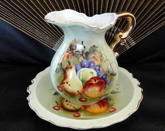 Vintage Lefton China Hand Painted Fruit Pitcher and Bowl Dish with Gold Gilt 6280