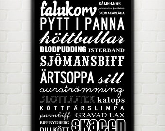 Best of Sweden -  traditional food dishes. A3 29.7 x 42 cm, luxury poster print.