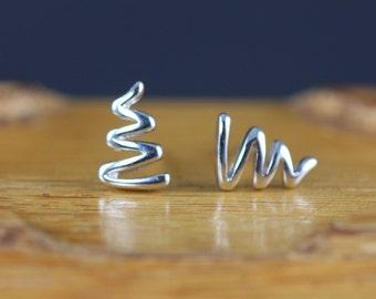 Lightning Stud Earrings - Small Sterling Silver Post Earrings - Unique Stocking Stuffer Gift Idea for Her