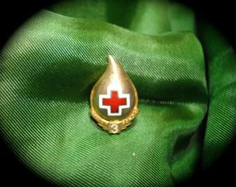 1969 Red Cross Commemorative Three Gallon Donation Lapel Pin.