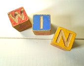 Vintage Toy Wood Block Set - WIN Sign - Primary Colors