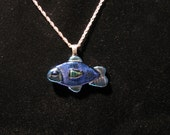 REDUCED!  Glass Fish made with all dichroic necklace!