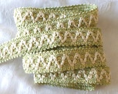 Vintage Sage Green and Ivory Silky Trim, Ribbon~ 1 Yard ~ 3/4 inch wide ~ Upholstry ~ 1950's ~ Well made Double woven Trim