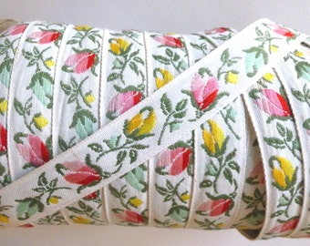 Vintage Jacquard Ribbon, Fabric Trim, Ivory with Pink, Yellow, Green Tulips, 1950's, 2 YDS, 3/4 in. wide, Baby, Dolls, Upholstery, European