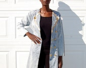 Acid wash double breasted trench/dress with gold buttons 1990s 1980s VINTAGE