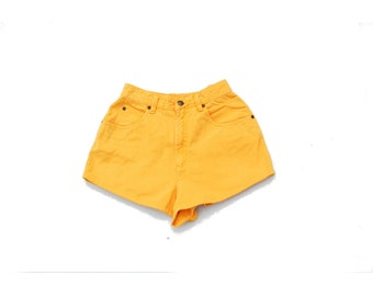 SALE!!!!!!!! Canary yellow high waist denim shorts petite 1990s 90s VINTAGE
