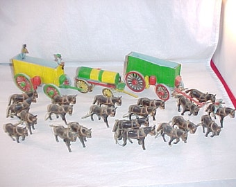 Hard Plastic Wagons and Mule Teams