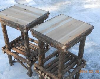 Rustic Cedar Chair Side Tables