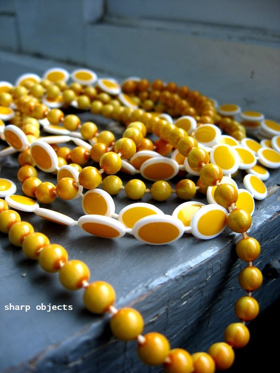 Sunny Sides Up - vintage 1950s pair of long wrap necklace, bright yellow mustard acrylic pinup strands, clasp necklace set