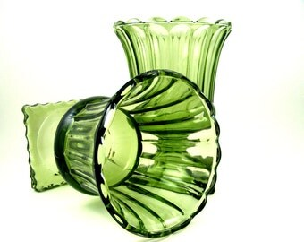 Vintage Green Glass Vases Olive Pedestal Urn Style Continental Can Company Set of 2