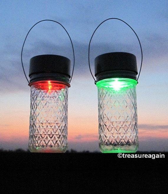 Garden Sparkle Solar Jars 2 Color Glo Mason Jar Solar Table Top Lights or Hanging Garden Lanterns, Rainbow Color Changing Crystal Solar Jars