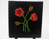 "Red Poppies Original Acrylic Canvas Painting Poppy 4"" x 4"" Unframed With Easel"