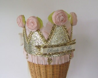 Bachelorette party crown, Bachelorette Party hat, Bride to be crown, Hen Party Crown, wedding crown, pink and gold bride crown, customize