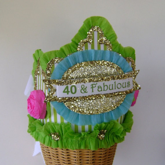 40th Birthday Party Crown Hat Adult 40 Fabulous Or Customize