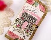 Samsung Galaxy s8 iPhone 7 Plus iPhone 7 Wallet Card Holder Linen cotton Paris Arc De Triomphe