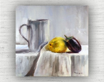 Lemon Painting Print of Still Life Oil Painting Home Decor Wall Art - Unique Kitchen Food Room Decor, Cottage Style Dining Room Art Print
