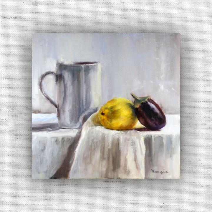 Lemon Painting Print of Still Life Oil Painting Home Decor