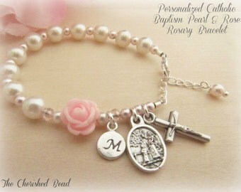 Catholic Personalized Baby Baptism Rosary Bracelet with Pearls, Rose, Sterling Initial Charm and Guardian Angel