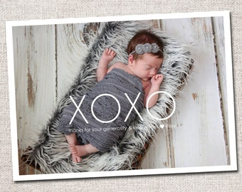 Photo Baby Thank You Card: PRINTABLE (XOXO Baby Gift Thank You Card)