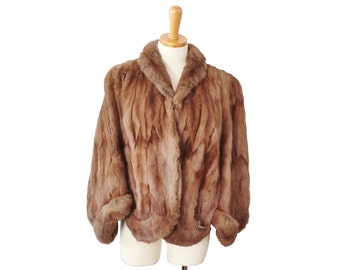 Vintage 50s Evans Chicago Fur Coat Cape - Women S M - Glam, Brown, Fur Label Authority