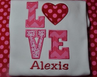 Monogrammed Personalized Valentines Day Shirt or Bodysuit with Love and Heart