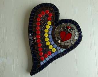 """Mosaic Heart, Art, Crown, Jewlery, Home Decor--"""" The Queen of Hearts"""""""