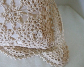 Crochet Lace Pillow - Beige -  Cotton - Vintage - Square - Home Decor - Gifts #336