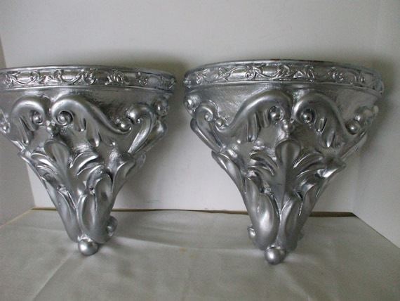 Large Silver Wall Decor: Metallic Silver Wall Sconces 2 Shelves By OneVintageVagabond