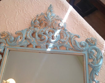 Vintage Shabby Chic Mirror Cottage Baroque Praire Style / Turquoise Creamy Yellow / Rococo Style Mirror On SALe at Retro Daisy Girl