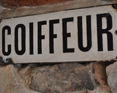 Antique French Enamel Plaque Double Sided Barber Shop Coiffeur Sign
