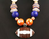 Denver Broncos Chunky Necklace, Gumball Necklace, Bubblegum Necklace, Girls Beaded Necklace