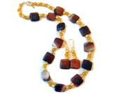Beaded Necklace and Earring Set, Yellow, Gold, Amber, Gift For Her, Fall Jewelry