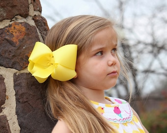 Lemon Yellow Big 6 Inch Twisted Boutique Bow Bright Yellow Bow