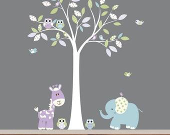 Whimsical Nursery Jungle Vinyl Wall Decal Art Set with Birds Owls Giraffe and Elephant